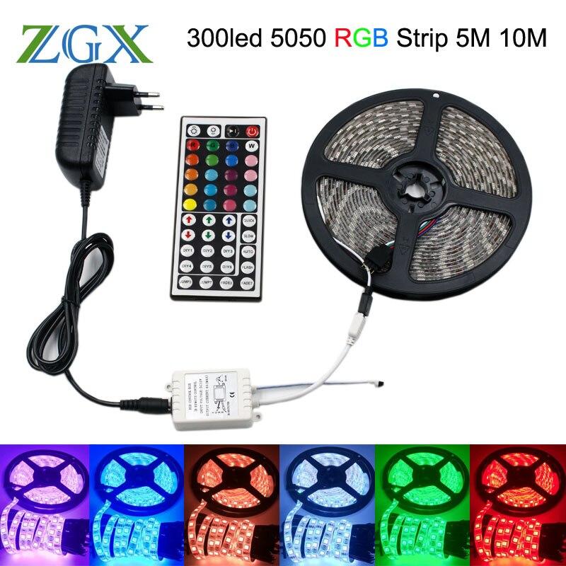 SMD RGB LED Strip Light 5050 5M 10M 60led M Decor Led Lamp Ribbon Tape 44Key