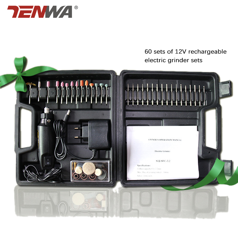 Tenwa 60pc Mini Electric Mill DC12V Miniature Electric Drill Electric Grinding Machine With Dremel Accessories Set electric drill mini miniature ball bearing precision grinding aluminum shell multifunction hand drill