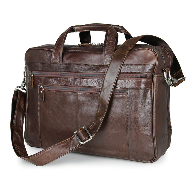 Vintage Large Capacity Coffee Genuine Leather Men Messenger Bags Business Travel Bags 15.6'' Laptop Briefcase Portfolio #M7319