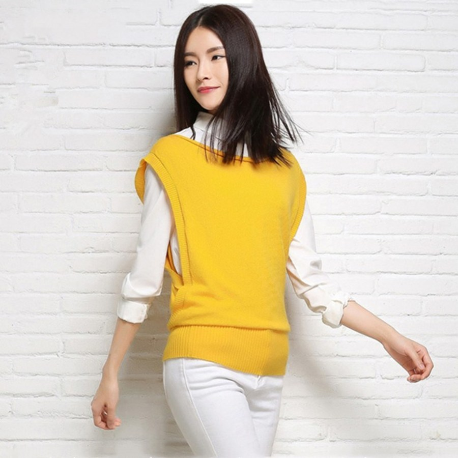 2018 new spring cashmere sleeveless vest knit sweater women sweaters and pullovers coat high quality pull femme hiver pullover