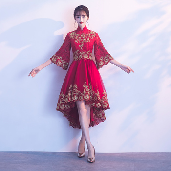 Improved Sleeve Women Short Cheongsam Chinese Traditional Lace Embroidery Dresses Novelty Mandarin Collar Qipao Vestidos