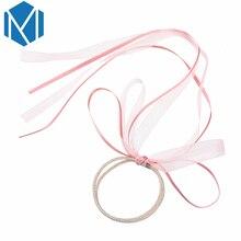 M MISM Sweet Bow tie Elastic Hair Band Scrunchy Hair Accessories Women Lace Ribbon Hairband Ponytail Holder Wedding Headwear