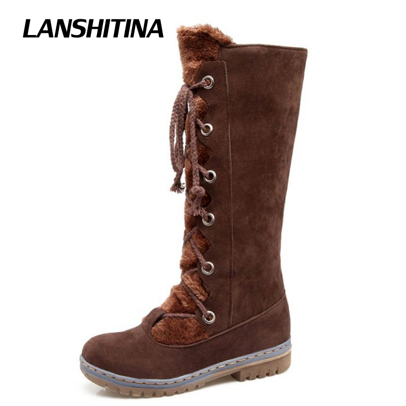 LANSHITINA Women Knee Boots Long Boot Warm Shoes Winter Autum Flat Botas Mujer Snow Boots Fur Fashion Round Toe Shoes Boots karinluna women half knee snow boots rubber sole round toe platform warm fur shoes winter ladies footwear bootas mujer