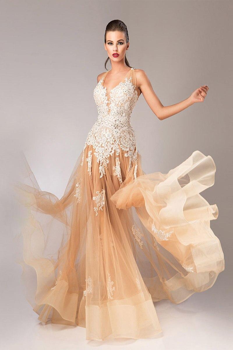 Ivory long evening dresses