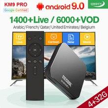 French Arabic IPTV Box QHDTV 1 Year IPTV Code KM9 Pro Android 9.0 TV BOX Tunisia Belgium Morocco IPTV France Netherlands IP TV