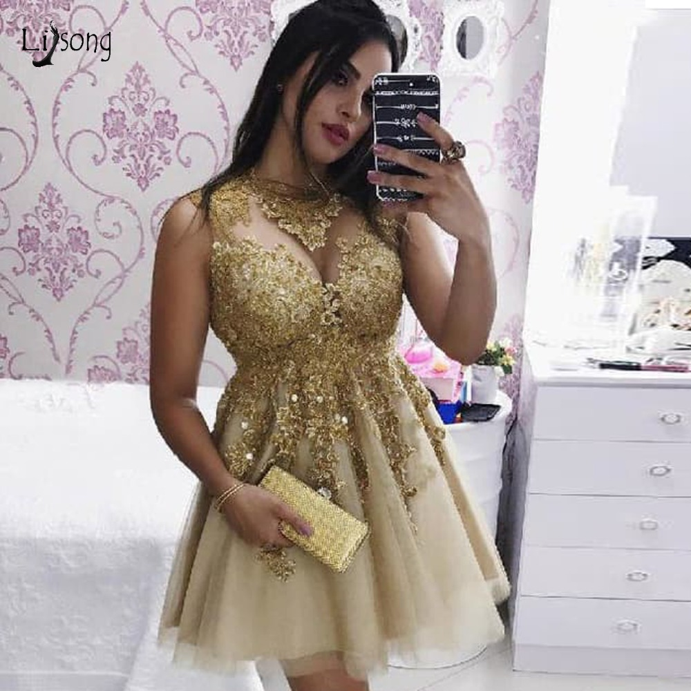 Sexy Gold Lace Mini Cocktail Dresses Illusion Beaded Graduation Party Dresses A line Short Prom Gown