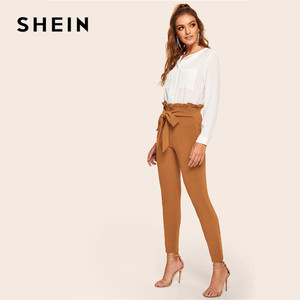 Image 4 - SHEIN Elegant Frill Trim Bow Belted Detail Solid High Waist Pants Women Clothing Fashion Elastic Waist Skinny Carrot Pants