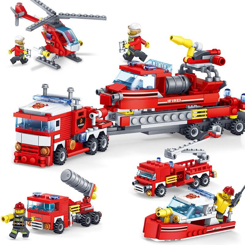 348 pcs Antincendio 4in1 I Camion Auto Elicottero Boat Building Blocks Compatibile legoingly città Vigile Del Fuoco figure Giocattoli per bambini