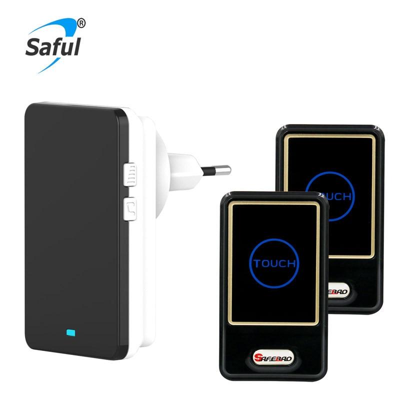 Saful Waterproof Wireless Door Bell EU Plug-in With 2 Outdoor Transmitter + 1 Indoor Wireless Doorbell Receiver Hot Sale