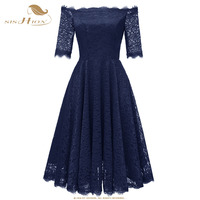 SISHION Womens Elegant Sexy Lace See Through Tunic Casual Club Bridesmaid Mother of Bride Dress Skater A Line Party Dress VD0713