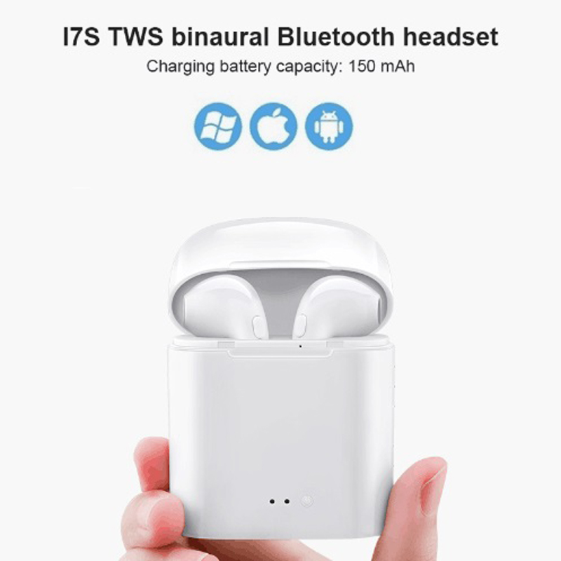 i7s Tws Bluetooth Earbuds Wireless Headphones Headset Stereo In-Ear Earphones With Charging Box for iPhone and Android(China)