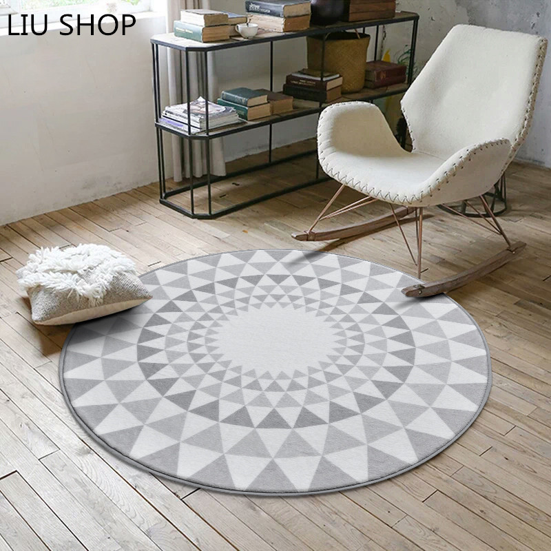 Nordic fashion round carpet coffee table room bedroom living room Rug grey style kids mat computer chair swivel chair cushion