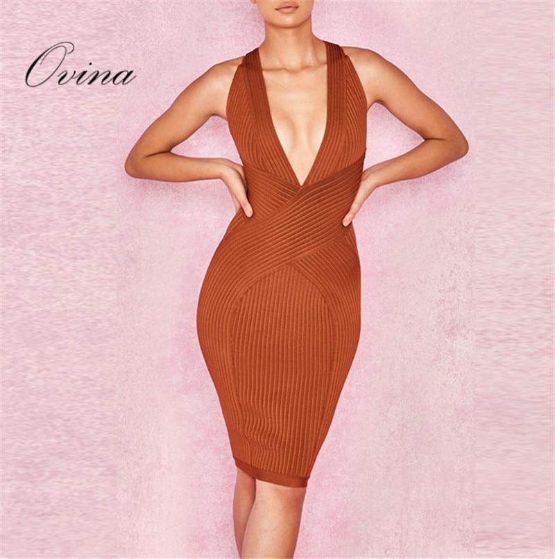 Robe de mode marron sans manches col en V longueur au genou robe Bandage rayonne robe de soirée
