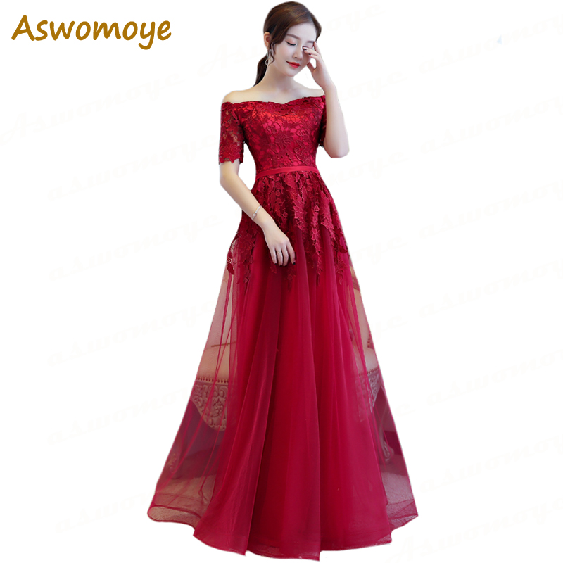 Aswomoye Elegant A-Line   Evening     Dresses   Long 2018 New Appliques Prom   Dress   Short Sleeve Party Fromal   Dress   Top robe de soiree