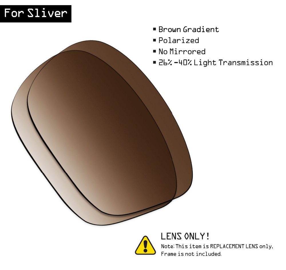 SmartVLT Polarized Sunglasses Replacement Lenses For Oakley Sliver - Brown Gradient Tint