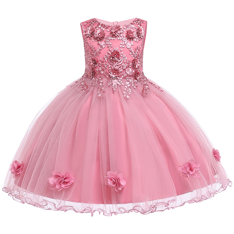 Kids Girls Party Wedding Bridesmaids Flower Girl Dress Baby Girl Embroidery Dress Ball Gown Princess Prom Costume for Children