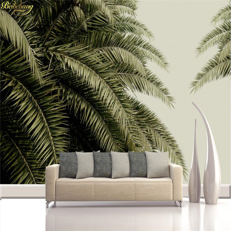 beibehang Custom Photo Wallpaper Medieval Hand Painted Tropical Jungle Leaves Background Wall Decorative Paintings beibehang custom photo floor painted