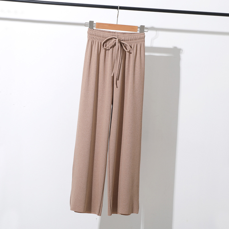 Lady Summer Ice Silk Seamless Khaki   Wide     Leg     Pants   High Waist Elastic Loose Thin   Pants   Women Sweatpants Straight Casual Trousers
