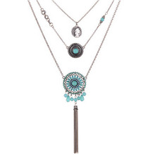 Bohemian Resin Hollow Flower Tassel Chain Necklace Ethnic Vintage Multi Layer Necklaces For Women Gifts