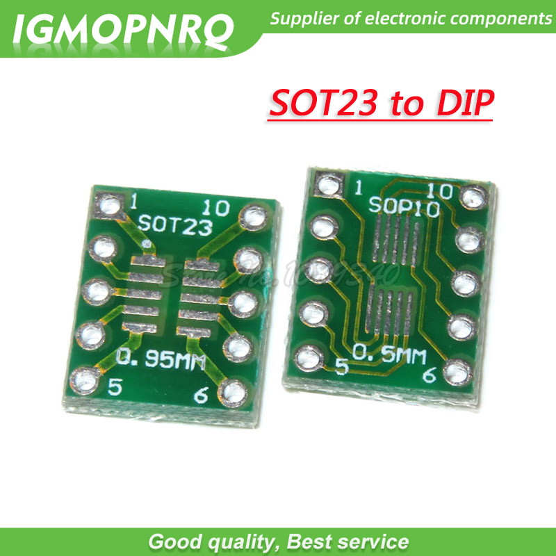 10PCS SOT23 MSOP10 UMAX To DIP10 Transfer Board DIP Pin Board Pitch Adapter SOT-23 MSOP-10 TO DIP-10
