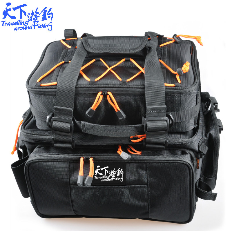 Fishing Bag Large Capacity 2Pcs Multi Purpose Fishing Rod Bag Fishing Lure Reel Tackle Bag Bolsa De Pesca For Fishing Tackle trulinoya multi purpose fishing bag 24 15 cm fish lock lure box accessories box style fishing bag set fishing tackle best