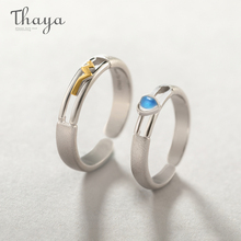 Thaya Heartbeat Rings Real 925 Sterling Silver Natural Moonstone Couple rings for Women Men Resizable Wedding Jewelry Gifts thaya facing the sea rings blue zirconia rings 925 silver jewelry for women lover wedding gift