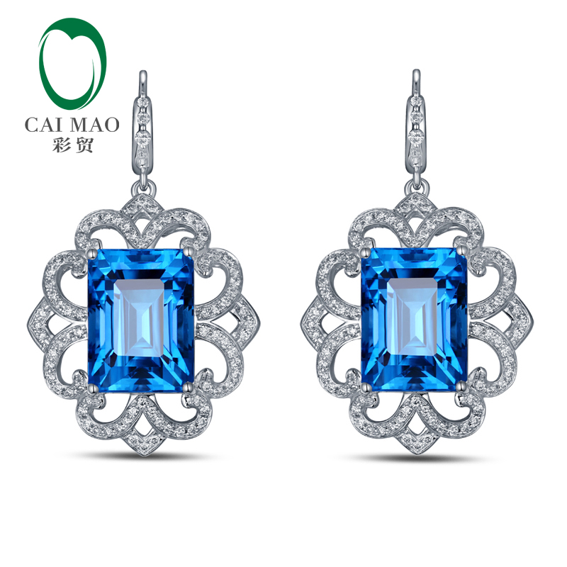 CaiMao 14KT/585 White Gold 22.85 ct Natural Blue Topaz & 0.89 ct Round Cut Diamond Engagement Gemstone Earrings Jewelry