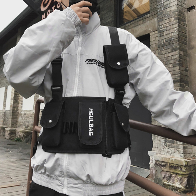 Men's Breastplate Hip Hop Streetwear Unisex Streetwear Feature Pack Military Tactical Chest Bag Cross Backpack