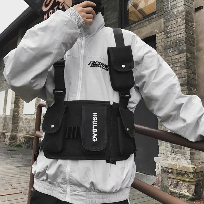 Men's Breastplate Hip Hop Streetwear Unisex Streetwear Feature Pack Military Tactical Chest Bag Cross Backpack