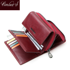 Image 2 - Contacts Genuine Leather Wallet women Short Coin Wallets for Women female Card Holder Small hasp Money Bag portfel damski