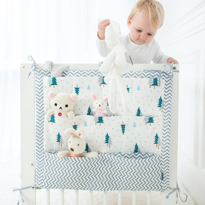 Muslin Tree Bed Hanging Storage Bag Baby Cot Bed Brand Baby Cotton Crib Organizer 60 50cm Toy Diaper Pocket for Crib Bedding Set in Bedding Sets from Mother Kids