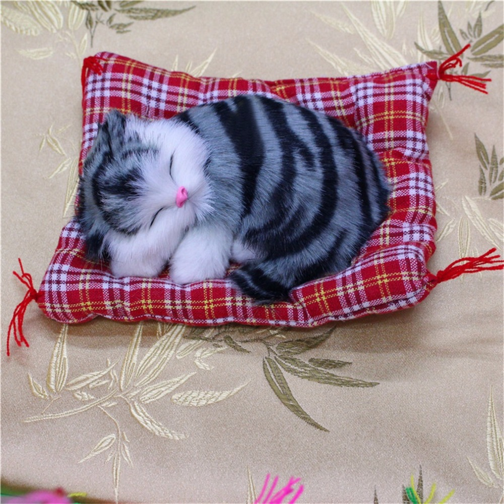 OCDAY Lovely Cute Small Simulation Animal Craft Doll Plush Lazy Sleeping Cats Kids Toy Birthday Gift Doll Stuffed Toy Hot Sale