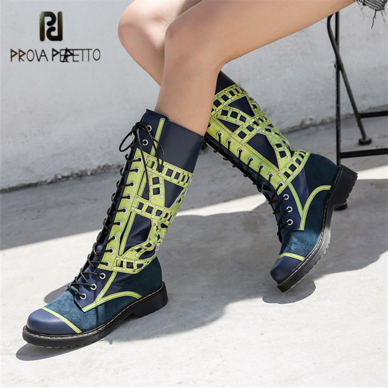 Prova Perfetto Women High Boots Lace Up Martin Boot Women Autumn Winter Flat Platform Rubber Shoes Woman Two Styles Wear prova perfetto 2017 winter new styles women short boots high quality 100