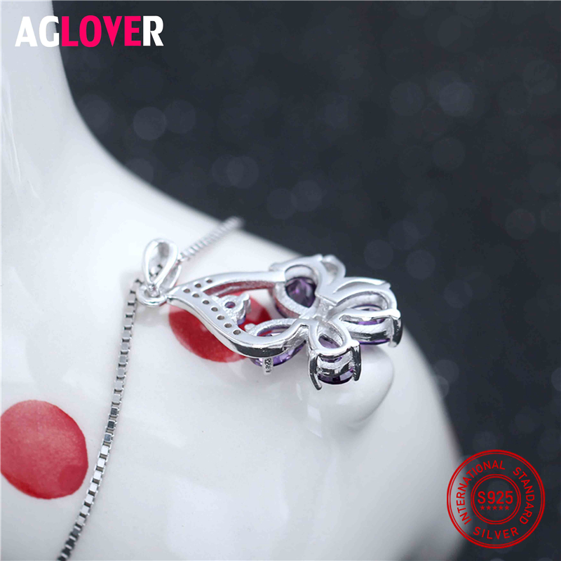 925 Sterling Silver Necklace Woman Austrian Crystal Clover Pendant Necklace Charm Wedding Jewelry in Necklaces from Jewelry Accessories