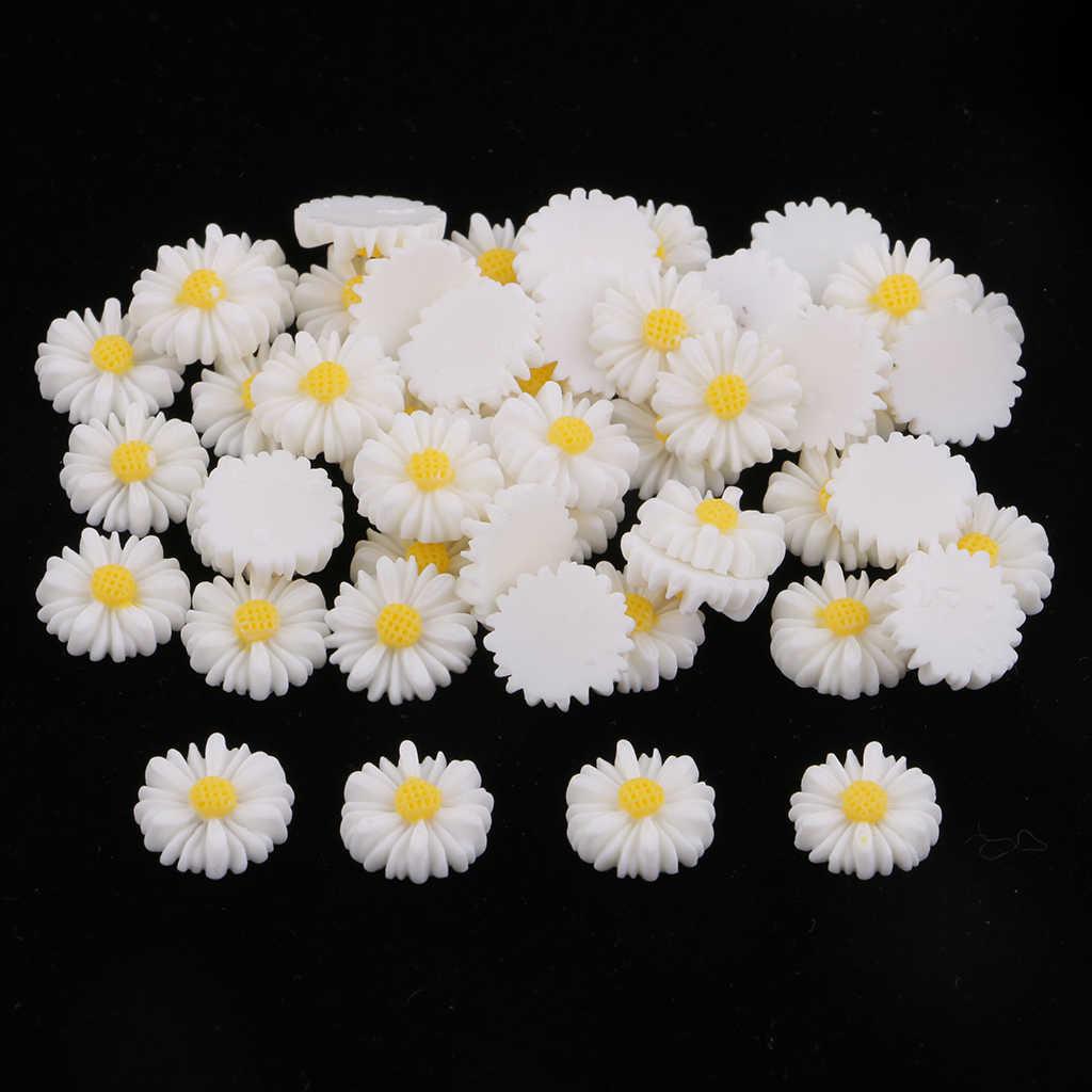 50pcs 13 millimetri bianco giallo daisy fiore della resina flatback cabochon bottoni gioielli FAI DA TE decorazione del telefono centro dell'arco dei capelli delle ragazze che fanno