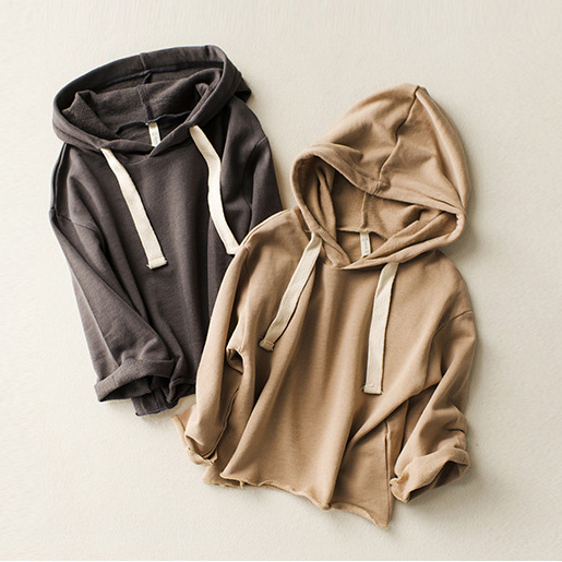 Boys girls spring autumn hoodies baby solid casual hooded shirts kids khaki dark grey long sleeve clothes children outfit 2-8T casual style hooded long sleeve front pocket design khaki hoodie for women