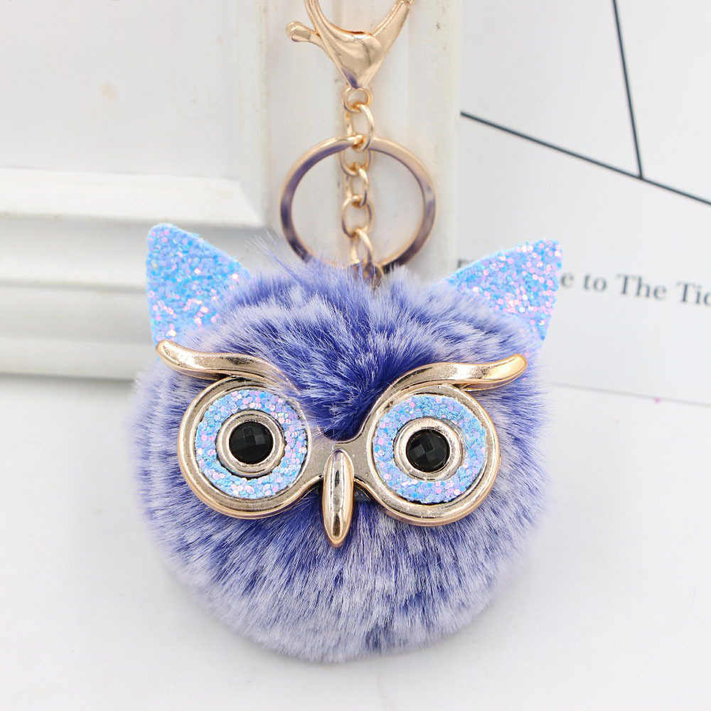 Hot Sale 1 pc 8 CENTÍMETROS Keychain Bonito Da Coruja Pingente de Mulheres Anel Chave Titular Pompons Chaveiro Dropshipping Strass Chaveiros