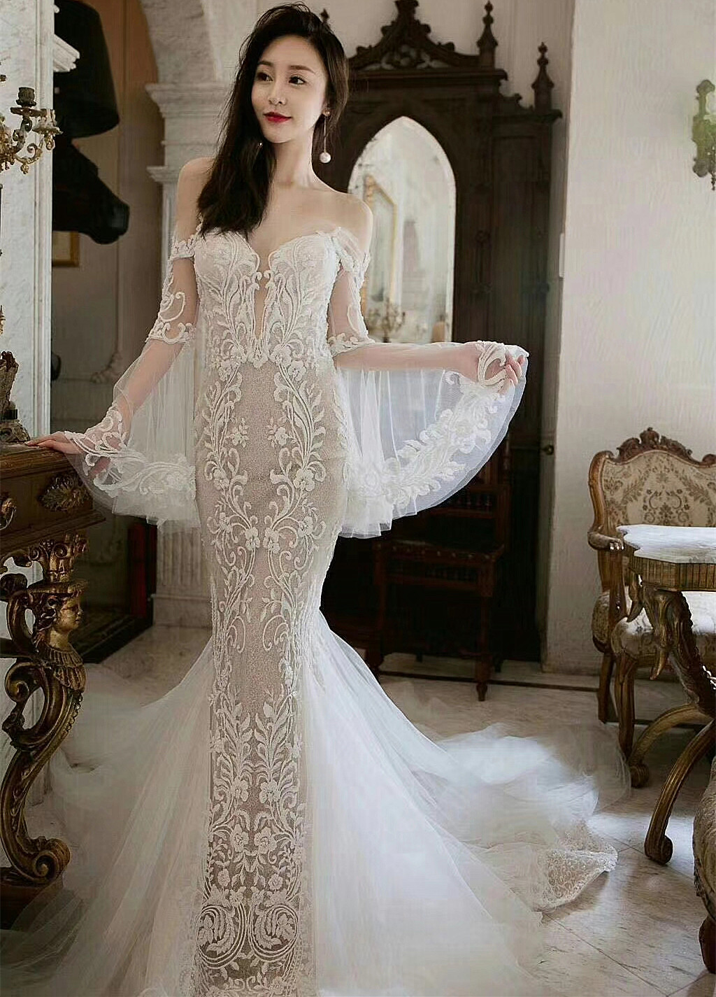 Image 3 - Free Shipping Imports White Sequins Embroidered Mesh Lace Fabric,  Lace Wedding Dress Fashion Wedding Decoration Fabric RS1110Fabric   -
