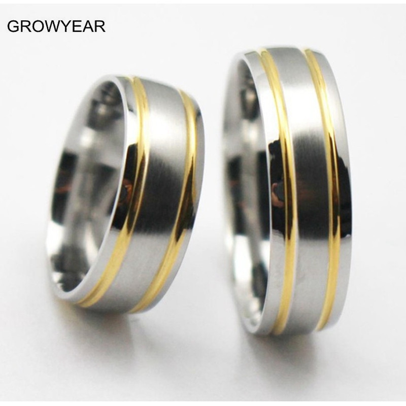 Size 16 14 11 9 Wedding Rings His And Her Sets For Women Men Golden Silvery Two Tone Ring Pair