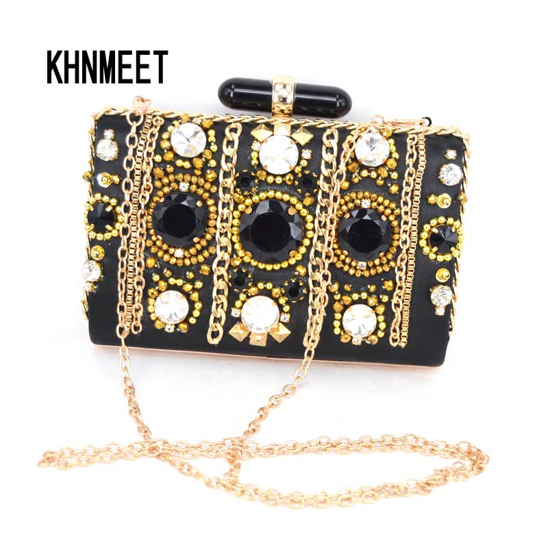 Luxury Crystal Evening Clutches Black Party Handbag with Chain Ladies Wedding Pearl Bride Clutch bag Prom Dinner Purse Bag SA42 2017 new crystal women evening bags luxury diamonds bride wedding party dinner bag handbag handbags purses ladies day clutches