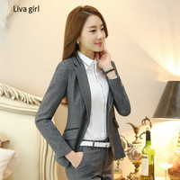 2017 High Grade Gray Black Women S Work Wear Set Autumn Winter Formal OL Pants Suits