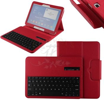 For Samsung Galaxy Tab 4 10.1 T530 Tablet Detachable Wireless Bluetooth ABS Plastic Keyboard & PU Leather Case Smart Cover - Red