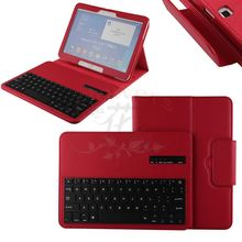 For Samsung Galaxy Tab 4 10.1 T530 Tablet Detachable Wireless Bluetooth ABS Plastic Keyboard & PU Leather Case Smart Cover – Red