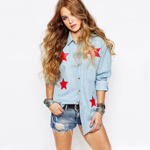 Roupas Feminina 2016 Female Denim Shirt Red Star Appliqued Massimo Summer Plus Size Women Body Blouse Jeans Cool Blouse Bluz