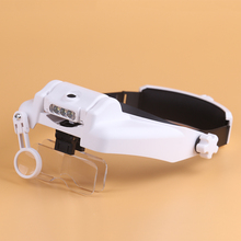 BIJIA 1.0X 1.5X 2.0X 2.5X 3.5X Adjustable 5 Lens Headband Magnifier Loupe LED Light Magnifying Glass with Lamp