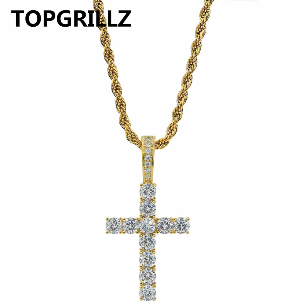 TOPGRILLZ Hip Hop Pico Harvey Cross Pendant Necklace Micro Pave AAAA+ Cubic Zirconia Egyptian Style Necklace 24