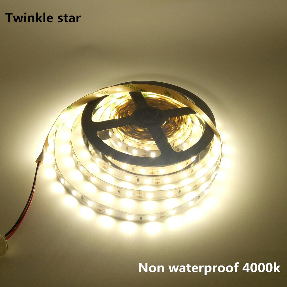 Led Strip Light 5630 5730 Smd 300led 5m Waterproof Ip65 And Non Waterproof Ip20 Dc 12v 4000k Nature White Flexible Led Tape Rope