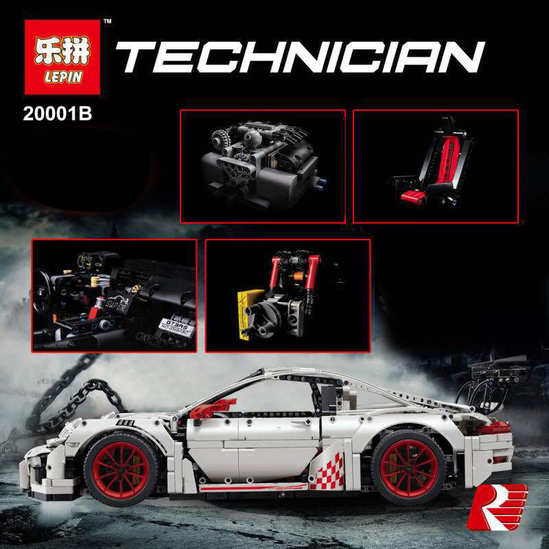 LEPIN 20001B 2758Pcs New Technic Series Classic 911 GT3 R3 Race Car 42056 Educational Building Bricks Blocks Boys Gift Fun Model