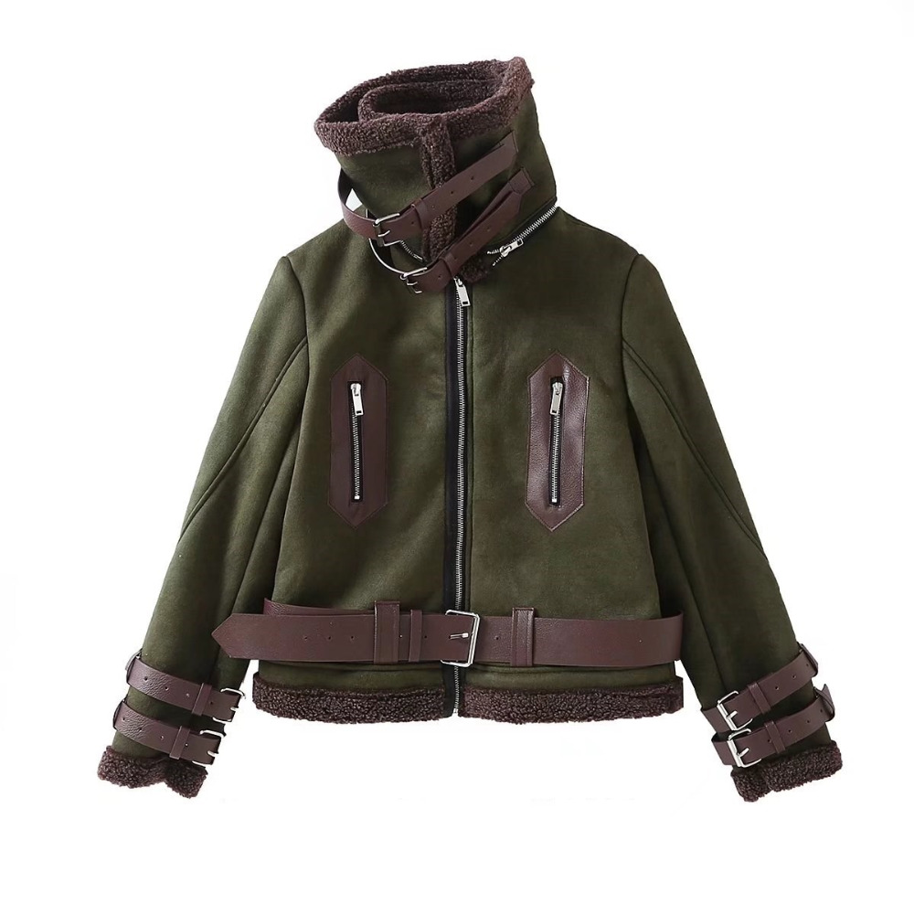 2019 Women winter coat Short suede leather spliced Flocking fur Green SML with belt Thick jacket warm coats Drop shipping