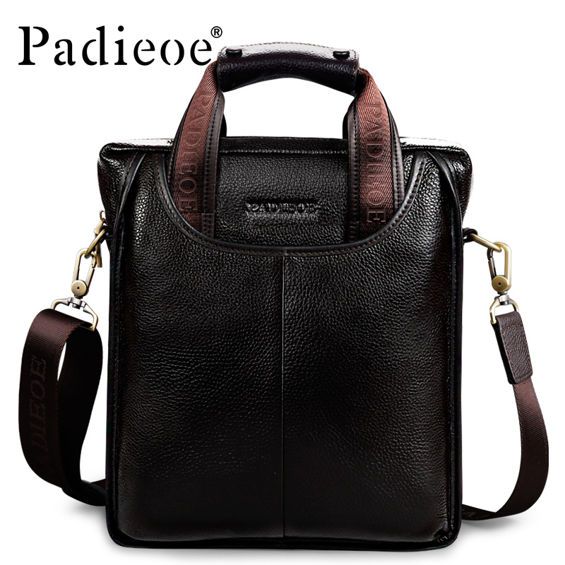 Padieoe Vintage Men Briefcase Genuine Leather Men Messenger Bags Fashion Male Tote Bags Leather Business Men Bag Shoulder Bags padieoe men s genuine leather briefcase famous brand business cowhide leather men messenger bag casual handbags shoulder bags